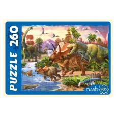 Пазлы 260 эл. Динозавры у водоема