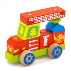 Деревянный конструктор-каталка Пожарная машина