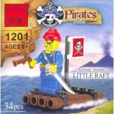 Конструктор 1201 Брик пиратский плот  34 дет  в кор 7*7*5  /360шт./
