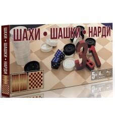 Игра 3в1 Шахматы, Шашки, Нарды в коробке (19шт)