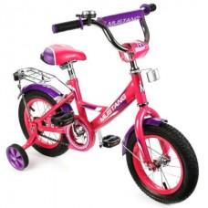 Велосипед детский 12 MUSTANG, a-тип, багажн., страх.кол., звонок, роз./фиол. в кор.1шт [239492]