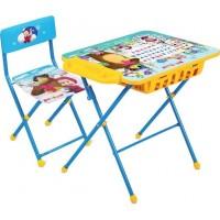 Комплект детский, складной, Азбука2 Маша и Медведь (стол+стул мягк. моющийся)