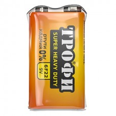 Батарейка Трофи 6F-22 tray*1 ( 10/500)