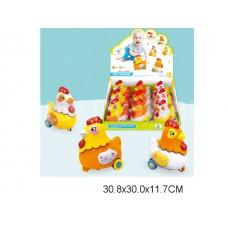 Курица 11 см инерционная, световые и звуковые эффекты в коробке. в уп-ке 9 штук