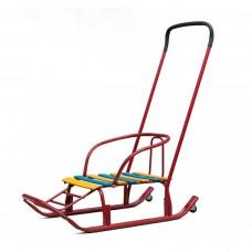 Санки Мишутка №1 с колесами, красные