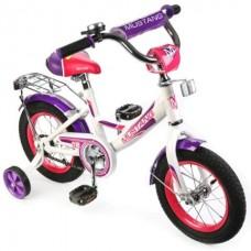 Велосипед детский 12 MUSTANG, a-тип, багажн., страх.кол., звонок, бел./фиол. в кор.1шт [239491]