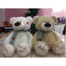 Медведь с шарфом вышитое сердце 35 см