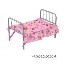 Кровать для кукол, FL983, металлическая, в пакете, 47*28,5*30 см