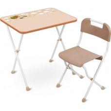 Комплект Алина (стол+стул пластм.) дет. складн.  бежевый