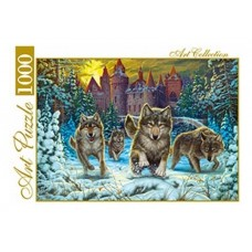 Пазлы 1000 элементов волки и готический замок