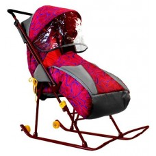 Санки-коляска Снежинка Премиум с тентом, красные
