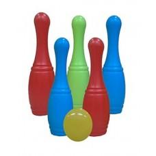 Набор кеглей 5 шт + 1 маленький мяч в сетке