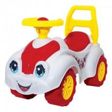 Автомобиль- каталка  для прогулок бело-розовый 65*31*44