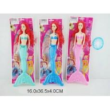 Кукла-русалка 28 см со светом  3 цвета в пакете