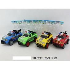 Машина пикап-полиция инерцинерционная 4 цвета в пакете