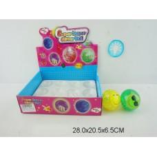 Мяч прыгун каучуковый 6,5 см свет в уп 12шт D608-14 в коробке