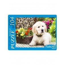 Пазлы 104 эл. Белый щенок и цветы.