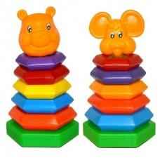 Пирамидка - Качалка Медвежонок, Мышка (6 колец) 140*140*240мм