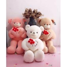 Медведь с сердцем в лапах,на сердце цветы 60 см
