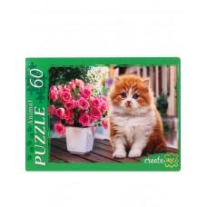Пазлы 60 эл. Пушистый котенок и цветы