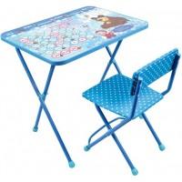 Комплект детский, складной Азбука 4: Маша и Медведь (стул мягкий+стол)