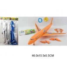 Самолет инерционный свет звук 3 цвета в пакете